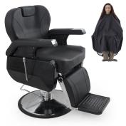 BELLAVIE Hydraulic Barber Chair, Reclining, Salon Equipment, Black