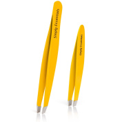 Tweezers Set - Professional Stainless Steel Yellow - Includes CASE and Ebook - Best Surgical Grade for Eyebrow pluckers, Ingrown Hair, Nose Hair, Splinters & Stocking Stuffers!