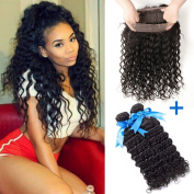 GEFINE Hair Brazilian Deep Wave Wavy 360 Lace Frontal Closure With Bundles Unprocessed Human Hair Weaves With Full Frontal Lace Band Closure 3Pcs Lot 16 18+36cm
