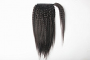 Brazilian Kinky Straight Yaki Human Hair Ponytail Extensions Natural Black 30cm - 60cm