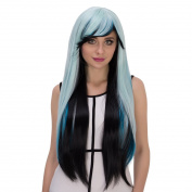 Probeauty Synthetic Wig, Long Straigh Lolita Costume Party Wig for Women, Blue/Black