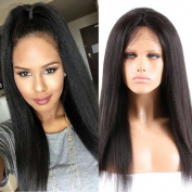 Tony Beauty Hair Brazilian Kinky Straight Glueless Full Lace Wig With Baby Hair Natural Colour Free Part 100% Coarse Yaki Hair Wig Heavy Density For Black Woman