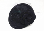 Yunko Pillbox Fascinator Hat Retro Wool Nylon Hat Feather flower with Hair Clip for Girl and Women Black