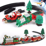 KING DO WAY Musical Christmas Xmas Train and Carriages Christmas Tree Train Set Ornament With Track Decoration Gifts Toys