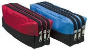 Triple Pocket Zip Rectangular Large Fabric Pencil Case -(red)Ideal For School
