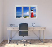90cm Window Landscape Scene Nature View NETHERLANDS LIGHTHOUSE DAY #1 WHITE CLOSED Wall Decal Room Sticker Home Office Art Décor Den Mural Man Cave Graphic MEDIUM