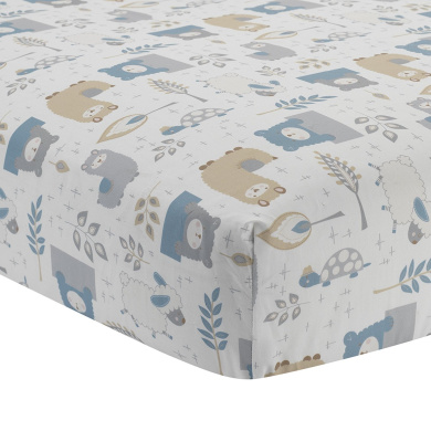 Lambs & Ivy Happi By Dena Little Llama Animal Printed Fitted Sheet, Grey/Blue
