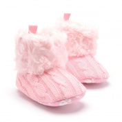 Diamondo Newborn Baby Girls Winter Snow Boots Infant Solid Bowknot Shoes Prewalker(Pink)