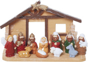 Glossy Little Manger Scene 5.5 x 5 Resin Stone Christmas Full Nativity Set of 12