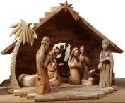 Nativity Scene Olive Wood Hand Carved Faceless Figurines Bethlehem Set 37cm