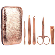 Lily England Rose Gold Manicure & Pedicure Set. Professional 5 Piece Nail Care Kit with Luxury Travel Case - Best Gift for Women & Girls