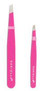 Soft Touch Slant and Point Stainless Steel Tweezers, Pink