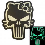 Glow Dark Punisher Hello Kitty GITD Army Morale Tactical PVC Rubber 3D Touch Fastener Patch