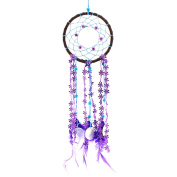 Decorative Car Home Bed Room Wall Decoration Hanging Sandalwood Bead Net Ornament with Feathers Shells Decor Craft Gift Purple