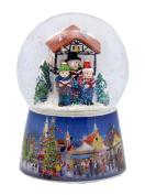 20071 Nostalgia snow globe Christmas singer on Christmas market rotating music box 10cm diameter