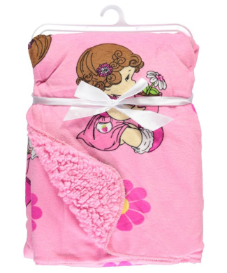 """Precious Moments """"Potted Flowers"""" Microplush Blanket - pink, one size"""