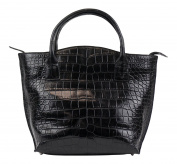 Brunello Cucinelli Black Crocodile Leather Purse Tote Hand Bag