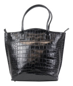 Brunello Cucinelli Black Crocodile Leather Zippere Tote Handbag
