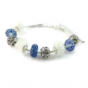 Dastan Women & Girl's Blue Charm Beads Silver Plated Lobster Clasp Snake Chain Bracelet