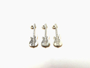 Set of Three (3) Pewter Electric Guitar Charms