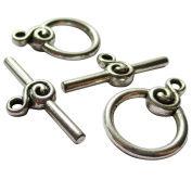 Heather's cf 24 Pieces Silver Tone Swirl Clasp Toggle Findings Jewellery Making 22X16/27X10mm …