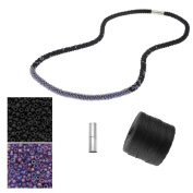 Refill - Long Beaded Kumihimo Necklace - Black & Rainbow Purple - Exclusive Beadaholique Jewellery Kit