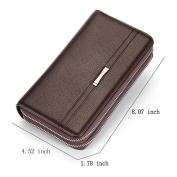 [Cyber Monday Clearance Deals Sale] Men Clutch Wallet,Double Zipper Bifold Wallet PU Leather Long Purse Case with Card Slots & Chequebook Holder