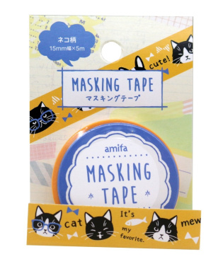 Washi tape Amifa Cute Happy Cats Collection Masking Deco Tape Standard. (Black and White Yellow)