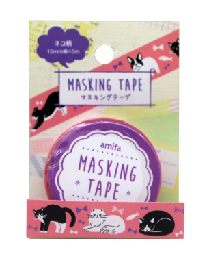 Washi tape Amifa Cute Happy Cats Collection Masking Deco Tape Standard. (Black and White Pink)