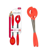 Easy Make ku6104/ED Stainless Steel and Silicone Spoon Red 40 x 12 x 1 cm, Pack of 2