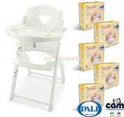 Pali Highchair Pappy Re White + 100 Cam Nappies Size 3 Midi 4 - 9 kg