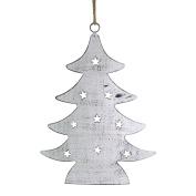 Napa Home & Garden 19cm Rustic Cut Tin Christmas Tree Ornament, Brown Whitewash