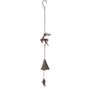 Rustic Metal Christmas Bell Wind Chime Hanging Holiday Transpac Y0857