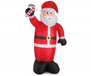 2.4m Tall Winter Wonder Lane Inflatable Lighted Santa with Candy Cane, Lighted Yard Art Decor, 4 LED Lights