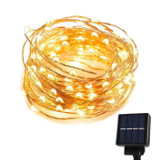 Goodia 10m 120 LEDs Outdoor Solar LED Copper Wire String Lights Rope light for Indoor,Bedroom,Patio,Lawn,Landscape,Fairy Garden,Home,Wedding,Holiday,Christmas Tree,Party