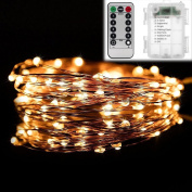 New 5m 50Leds Copper Colour Decor String Light 8 Mode Battery Operated w / Remote Control