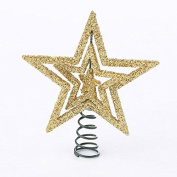Package of 6 Metallic Gold Glitter Star Miniature Tree Toppers on Spring for Miniature Decor, Holiday Decorating and Embellishing