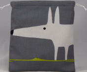Scion Mr Fox Fabric. Charcoal/Lime Drawstring Waterproof Lined Wash Bag, Cosmetic Bag