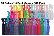 300 Pack! 50 Colours! No Crease Hair Ties Hair Ponytail Holders Elastic Styling Accessories Ribbon Bands by HBY