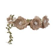 Tinksky Flower Garland Floral Headband Wedding Floral Headband Bridal Jute Hair Band Mini Bohemian Style Formal Head Wear Garland