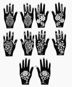 Henna Stencil Tattoo (10 Sheets) Self-Adhesive Beautiful Body Art designs - Temporary Tattoo Temples
