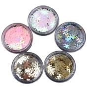 NICOLE DIARY 5 Colours/Set Holographic Colourful Snowflower Nail Sequins UV Gel Decoration Manicure DIY Decor