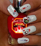 Nightmare Before Christmas Santa Jack Nail Art Decals. Clear Waterslide Nail Decals (Tattoo) Set of 49 by One Stop Nails NMBC-003-49