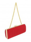 Scheilan Red Fabric Stiched Stripe Clutch