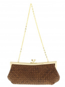 Scheilan Brown Fabric Weave Knot Clutch/Shoulder Bag