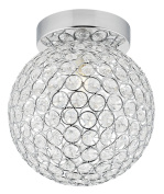 Modern Round Chrome & Clear Glass IP44 Rated Bathroom Ceiling Light by Haysom Interiors