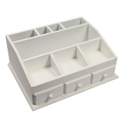 Woodluv Multi-purpose MDF White Cosmetic Organiser Caddy With 3 Drawers & 8 Compartments