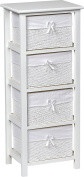 Chest of 4 drawers - Wicker look - Colour WHITE