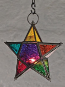 Moroccan style star hanging glass lantern, by White Candle Company by Candle Lanterns