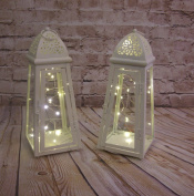 Link Products Cream Lantern Metal & Glass